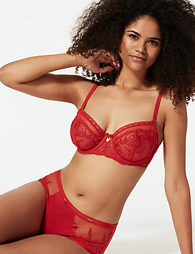 Embroidered Non-Padded Balcony Bra A-DD, RED, catlanding