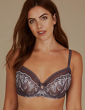 Embroidered Non-Padded Balcony Bra A-DD, GREY MIX, catlanding