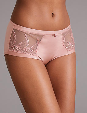 Embroidered High Rise Shorts, PINK, catlanding
