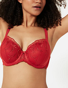 Embroidered Padded Full Cup Bra A-E, RED, catlanding