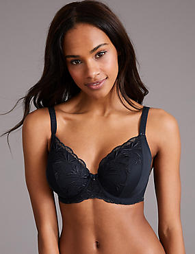 Embroidered Padded Full Cup Bra A-E, NAVY, catlanding