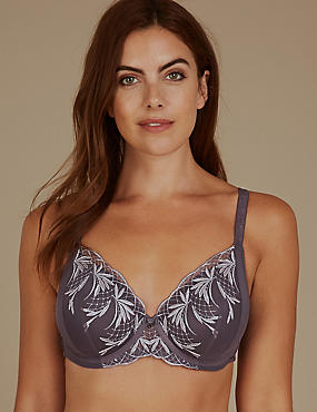 Embroidered Padded Full Cup Bra A-E, GREY MIX, catlanding