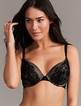 Flock Padded Plunge Bra A-E
