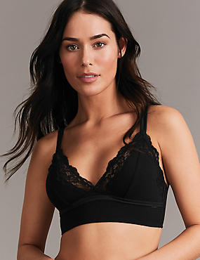 Lace Non-Padded Bralet with Cashmere