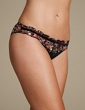 Floral Print Lace Brazilian knickers