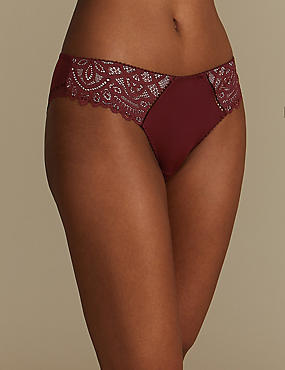 Lace Embroidered Brazilian Knickers , BERRY, catlanding