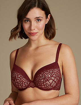 Lace Padded Plunge Bra DD-GG