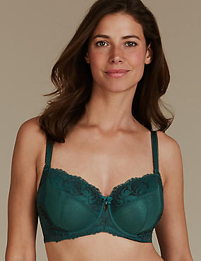 Lace Non-Padded Balcony Bra DD-GG, GREEN MIX, catlanding