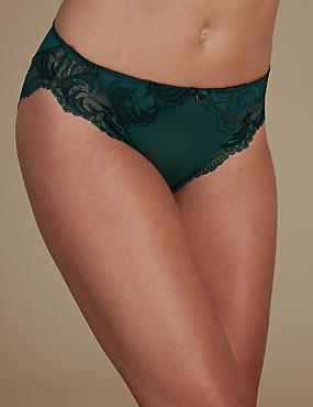 Sophia Lace High Leg Knickers, GREEN MIX, catlanding