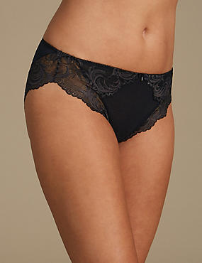 Sophia Lace High Leg Knickers, BLACK MIX, catlanding