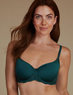 Lace Padded Balcony Bra A-D, GREEN MIX, catlanding