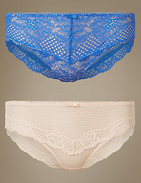 2 Pack Textured Lace Brazilian Knickers, BLUE MIX, catlanding
