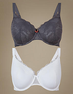 2 Pack Textured & Lace Set with Padded Full Cup A-E