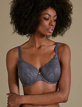 2 Pack Textured & Lace Padded Full Cup Bra A-E