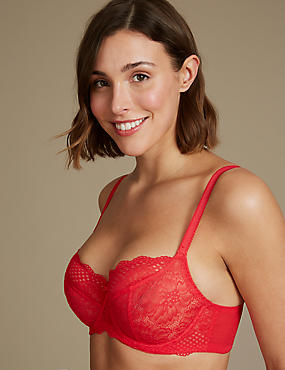 2 Pack Textured & Lace Non-Padded Balcony Bras DD-GG, RED MIX, catlanding