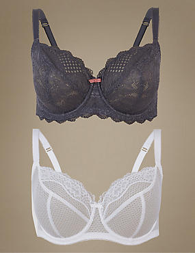 2 Pack Textured & Lace Non-Padded Balcony Bras DD-GG, GREY MIX, catlanding