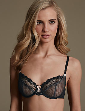 Lace Set with Underwired Non-Padded Balcony A-DD