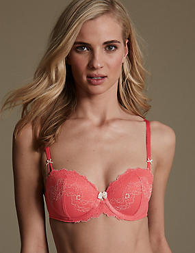 Penelope Lace Underwired Padded Balcony Bra A-E