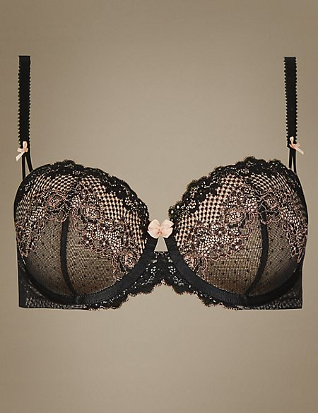 Lace Padded Balcony Bra A-E