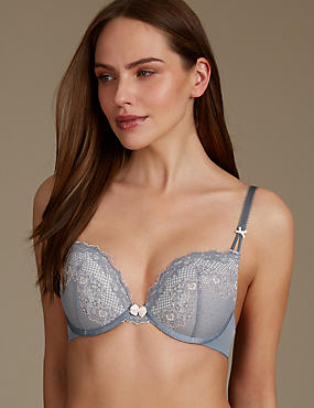 Lace Padded Push Up Plunge Bra A-DD