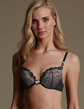 Lace Padded Push-Up Plunge Bra A-DD