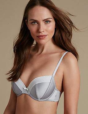 Satin Padded Balcony Bra A-E