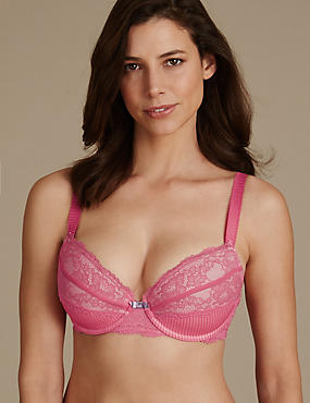 Pleat & Lace Padded Balcony Bra DD-GG
