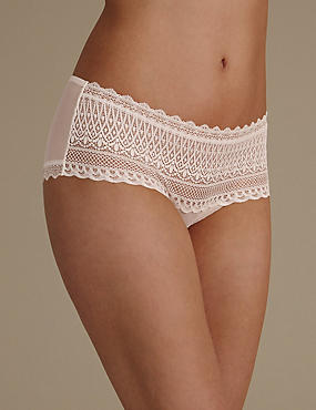 Geometric Lace Low Rise Shorts