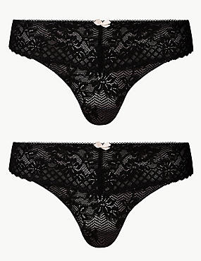2 Pack Floral Lace Embroidered Thong , MULTI, catlanding