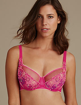 Multi Floral Embroidered Non-Padded Balcony Bras DD-GG