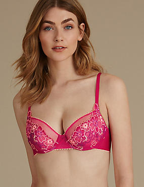 Multi Floral Embroidered Non-Padded Balcony Bras A-DD
