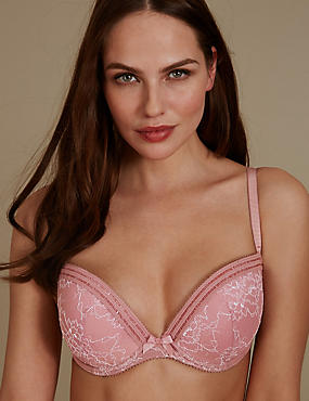 Lace Padded Push-up Balcony Bra A-E