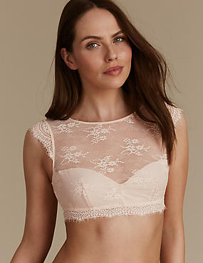 Eyelash Lace High Neck Non Padded Bralet