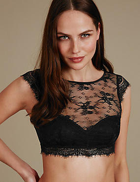 Eyelash Lace High Neck Non-Padded Bralet