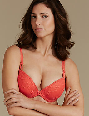 2 Pack Embroidered Padded Plunge Bra DD-G