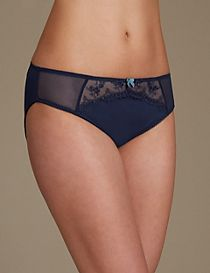 2 Pack Embroidered High Leg Knickers