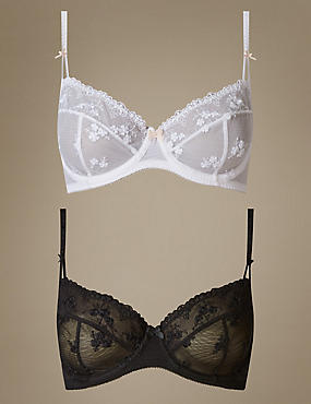 2 Pack Embroidered Non-Padded Balcony Bra A-E