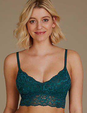 Lace Non-Padded Bralet, GREEN MIX, catlanding