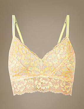 Lace Non-Padded Bralet, YELLOW, catlanding
