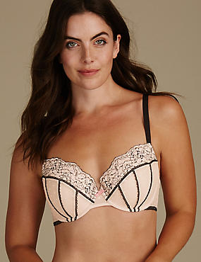 Lace Set with Padded Balcony Bra A-E
