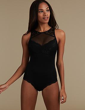 Lace Non-Padded Body, BLACK, catlanding