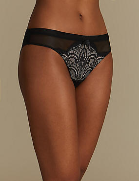 Lace Embroidered Brazilian Knickers, BLACK MIX, catlanding