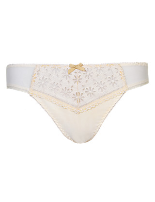 Daisy Embroidered Thong Clothing