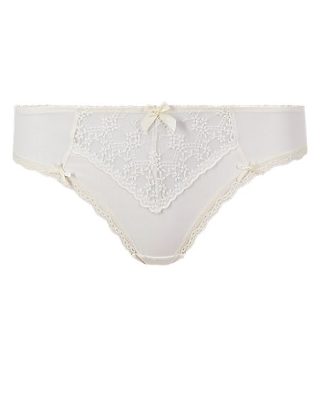 Floral Embroidered Low Rise Brazilian Knickers