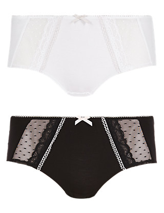 2 Pair Pack Modal Rich Lace & Spotted Shorts Clothing