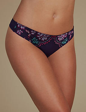 Louisa Lace Embroidered Thong , PURPLE MIX, catlanding