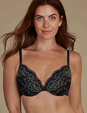 Louisa Lace Padded Plunge Bra A-E, GREY MIX, catlanding