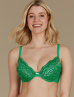 Floral Lace Padded Plunge Bra A-E, GREEN, catlanding