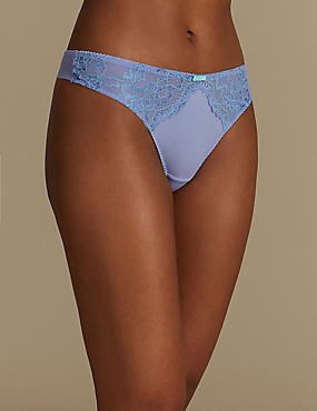 Floral Lace Thong, TURQUOISE, catlanding