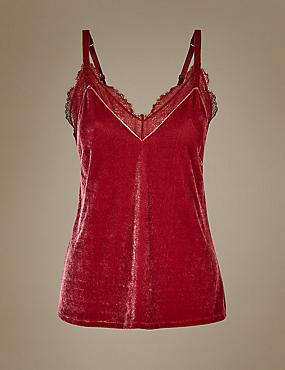 Velvet Camisole, RED, catlanding